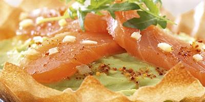 photo Tartes fines à l'avocat et cœur de filet de saumon au gingembre