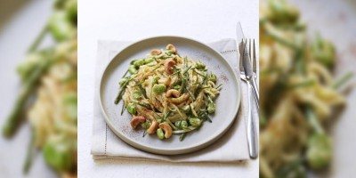 photo Udon au Pesto, légumes verts et noix de cajou