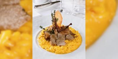 photo Risotto au safran, poitrines de caille et truffe blanche par le Chef Antonio Gavazzi