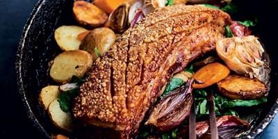 photo Poitrine de cochon et ses légumes rôtis, tétragone par le chef Thierry Breton