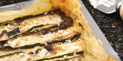 photo Tarte croustillante aux courgettes, menthe, parmesan