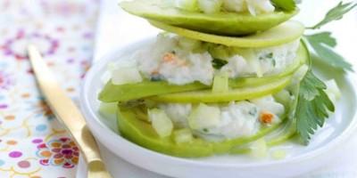photo Mille-feuille tout vert pomme verte, céleri, crabe, avocat