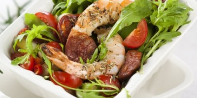 photo Salade tiède au chorizo et aux crevettes