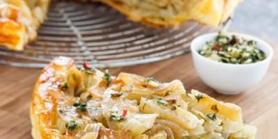 photo Tatin de fenouil, salade et Pesto de Coriandre