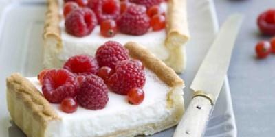 photo tarte au fromage blanc et framboises
