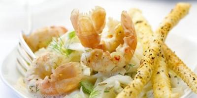 photo Fondue de fenouil et langoustines juste dorées, crème à l'anis